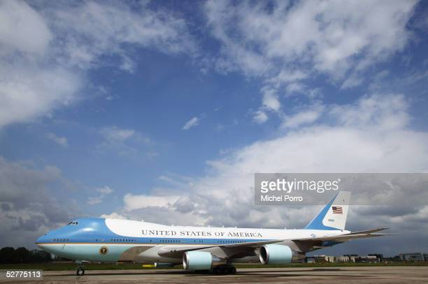 Air Force One carrying US President George W Bush and first Lady Laura Bush leaves after a visit May 8 2005 in Maastricht the Netherlands Bush...