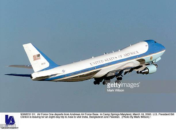 Air Force One departs from Andrews Air Force Base in Camp Springs Maryland March 18 2000 US President Bill Clinton is leaving for an eightday trip to...