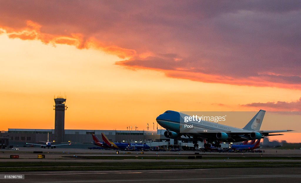 Air Force One Departs From Dallas Love Field Airport March