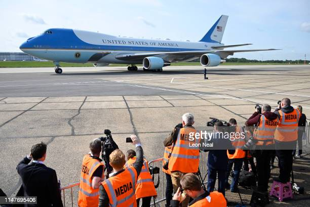Air Force One following the arrival of US President Donald Trump at Stansted Airport on June 3, 2019 in London, England. President Trump's three-day...