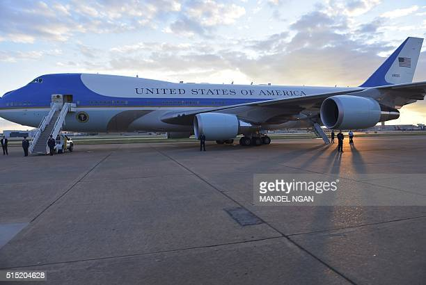 Air Force One is seen on the tarmac of Dallas Love Airport on March 12 2016 in Dallas Texas just before US President Barack Obama boarded for a...