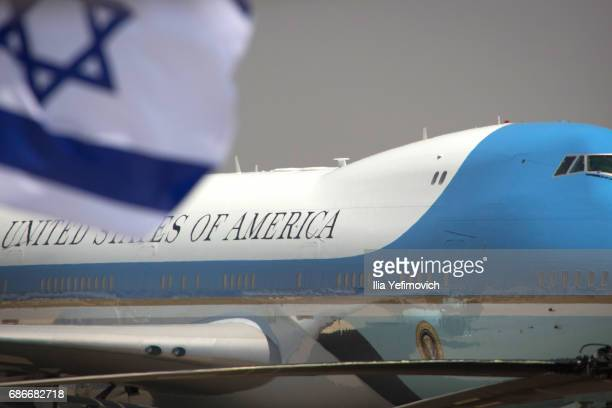 Air Force One lands at Ben Gurion International Airport on May 22 2017 near Tel Aviv Israel This will be Trump's first visit as President to the...