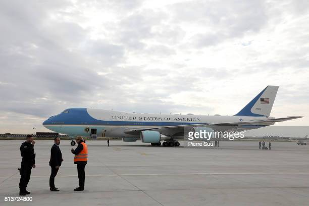 Air Force One sits on the runway during US President Donald Trump's arrival At Orly Airporton July 13 2017 in Paris France