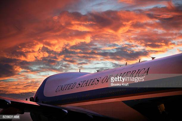 Air Force One sits on the tarmac after President Bush arrives in Waco Texas