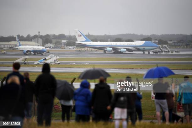 Air Force One sits on the tarmac awaiting the departure of US President Donald Trump and First Lady Melania Trump from Glasgow Prestwick Airport...
