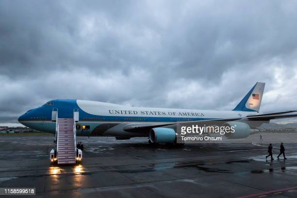 Air Force One, sits parked at the Osaka International Airport for the G-20 Summit on June 27, 2019 in Osaka, Japan. Trump arrived in Osaka on...