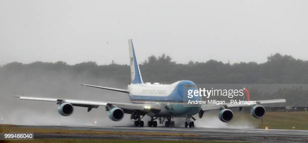 Air Force One takes off from Prestwick Airport in Ayrshire as US President Donald Trump and his wife Melania leave the UK after spending the weekend...