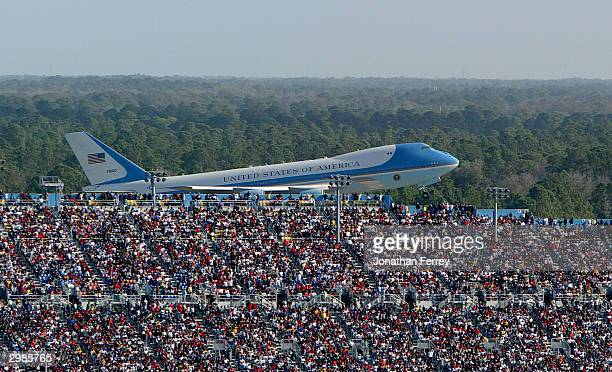 Air Force One takes off with US President Geore W Bush aboard after attending the NASCAR Nextel Cup Daytona 500 on February 15 2004 at Daytona...