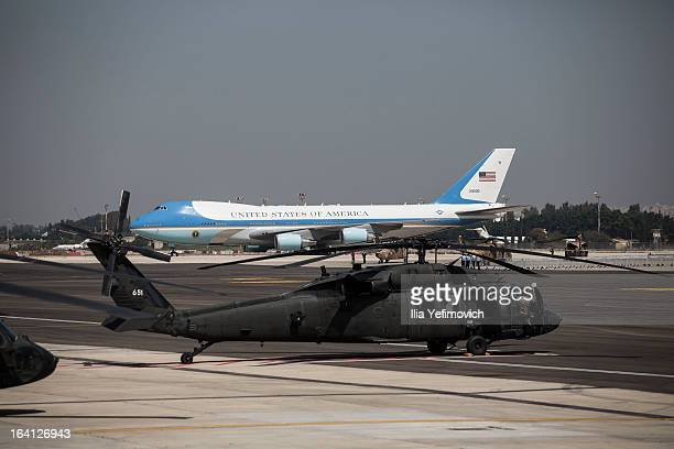 Air Force One taxis to an official welcoming ceremony for US President Barack Obama on his arrival at Ben Gurion Airport to be greeted by Israeli...