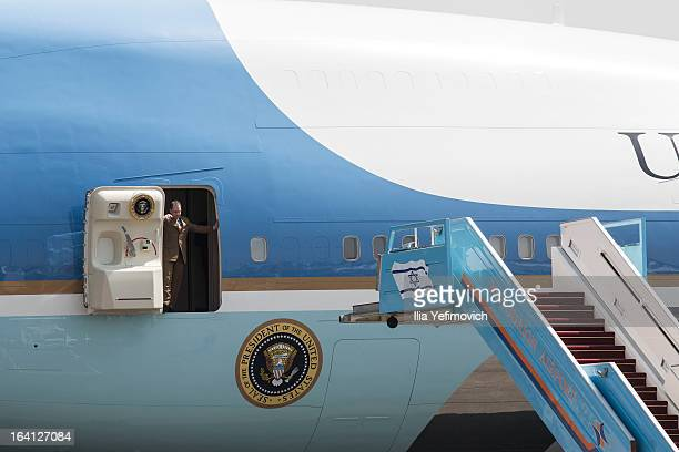 Air Force One taxis to an official welcoming ceremony for US President Barack Obama on his arrival at Ben Gurion Airport on March 20 2013 near Tel...