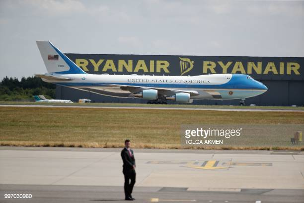 Air Force One the plane of US President Donald Trump lands at Stansted Airport north of London on July 12 as he begins his first visit to the UK as...