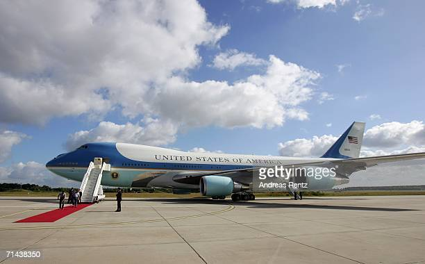 Air Force One the plane of US President George W Bush is being prepared for his departure on July 14 2006 in Rostock Germany Bush continues to the G8...