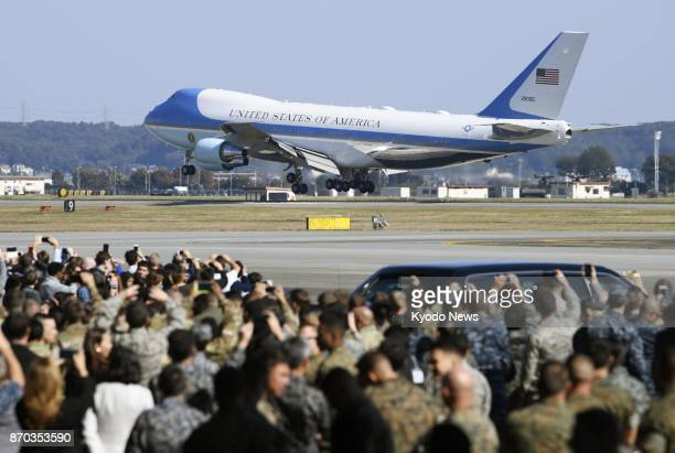 Air Force One touches down at US US Yokota Air Base in the suburbs of Tokyo on Nov 5 for President Donald Trump's threeday visit to Japan his first...