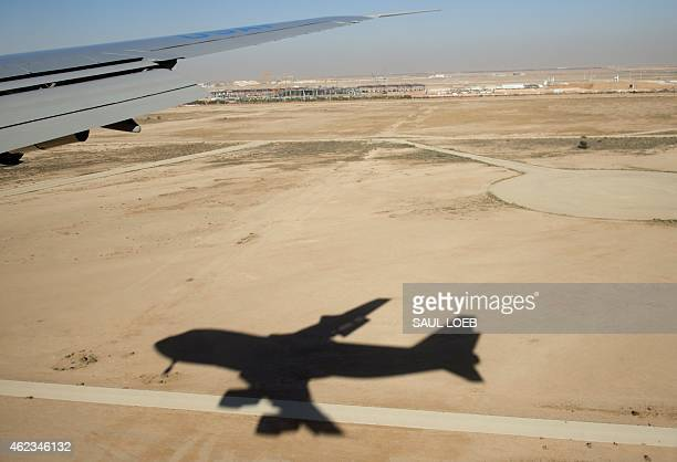 Air Force One transporting US President Barack Obama and First Lady Michelle Obama lands at King Khalid International Airport in Riyadh Saudi Arabia...
