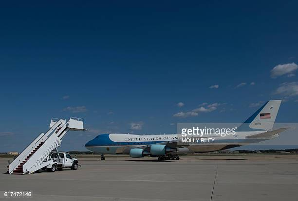 Air Force One with President Barack Obama aboard taxis to the runway at Andrews Air Force Base in Maryland on October 23 2016 as he departs for Las...