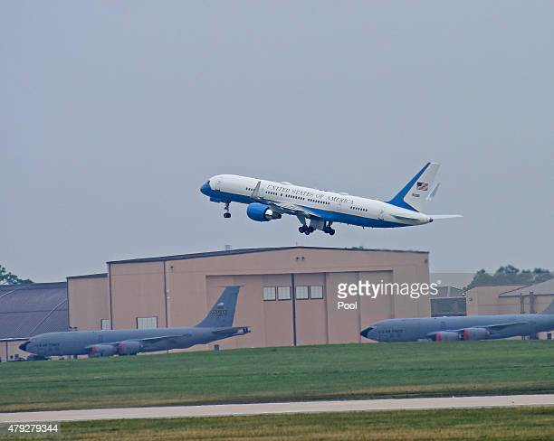 Air Force One with United States President Barack Obama aboard takes off on July 2 2015 at Joint Base Andrews in Maryland The designation Air Force...