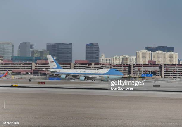 Air Force One with US President Donald Trump and First Lady Melania Trump taxi down the ramp at McCarran International Airport in Las Vegas on...