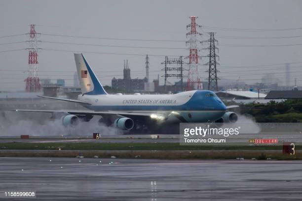 Air Force One, with U.S. President Donald Trump, lands at the Osaka International Airport for the G-20 Summit on June 27, 2019 in Osaka, Japan. Trump...