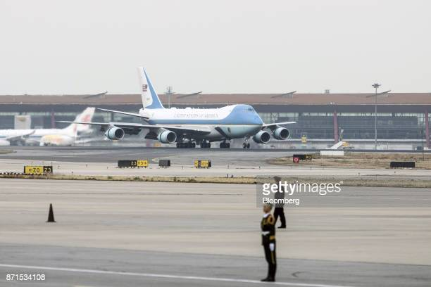 Air Force One with US President Donald Trump on board taxis along the runway at the Beijing Capitol Airport in Beijing China on Wednesday Nov 8 2017...