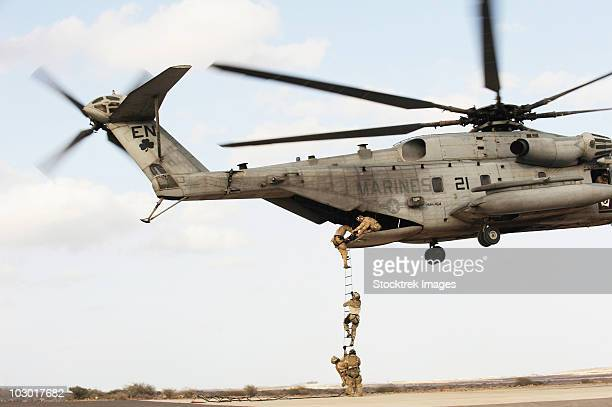 Air Force pararescuemen conduct a combat insertion and extraction exercise in Djibouti, Africa.