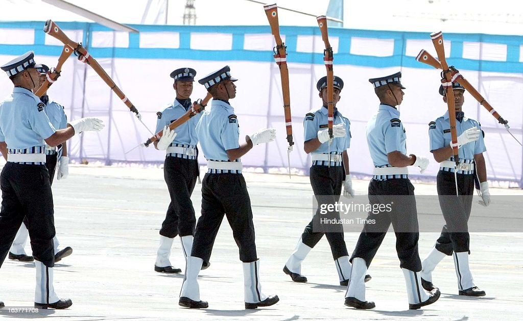 Air Force personnel toying with over 5 kg rifles in synchronisation drill during the award ceremony of Presidential Colours to Air Force Central...