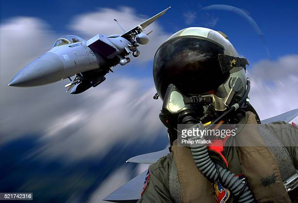 air force pilot and f-15 eagle - us air force stock pictures, royalty-free photos & images