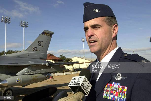 S Air Force pilot Col David C Nichols former wing commander of the 332nd Air Expeditionary Group at Al Jaber Air Force Base in Kuwait speaks to the...