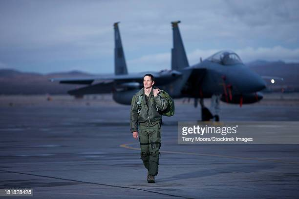a u.s. air force pilot walking away from a mcdonnell douglas f-15c aircraft. - us air force stock pictures, royalty-free photos & images