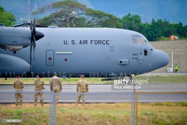 Air Force plane is pictured as Colombian and US troops hold joint military exercises in Tolemaida, Colombia, on January 26, 2020.