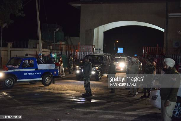 Air Force Police cars come out of the Integrated Check Post after Indian Air Force Wing Commander Abhinandan Varthaman was freed to return to India...