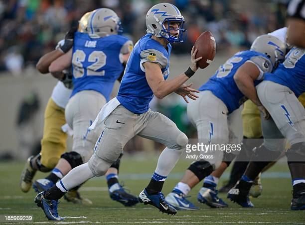 Air Force QB Nate Romine on a pitchout against Notre Dame in the third quarter at Falcon Stadium Saturday afternoon October 26 2013
