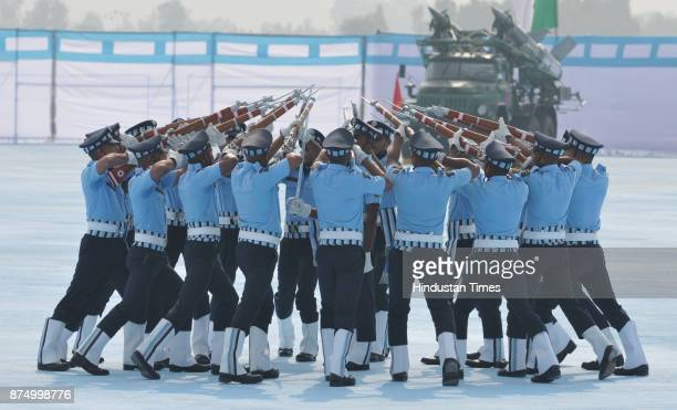Air force rifle dril team presenting variou formation at Adampur air force station on November 16 2017 near Jalandhar India President Ram Nath Kovind...