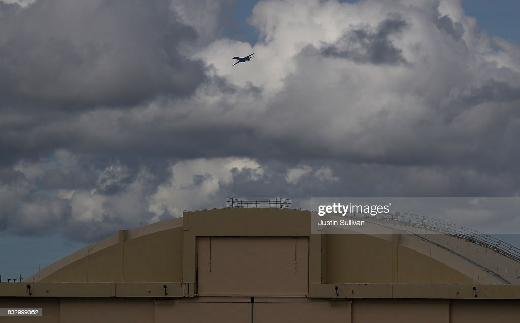 S. Air Force Rockwell B-1B Lancer takes off from Andersen Air Force base on August 17, 2017 in Yigo, Guam. The American territory of Guam remains on high alert as a showdown between the U.S. and North Korea continues. North Korea has said that it is planning to launch four missiles near Guam by the middle of August. Guam home to about 7,000 American troops and 160,000 residents.