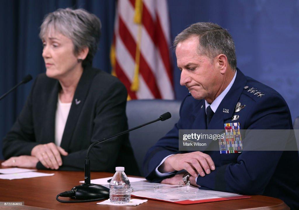 Air Force Secretary Heather Wilson Briefs Media At The Pentagon : News Photo