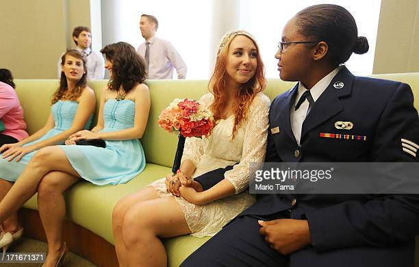S Air Force Senior Airman Shyla Smith and Courtney Burdeshaw wait to get married along with guests waiting for another wedding at the Manhattan...
