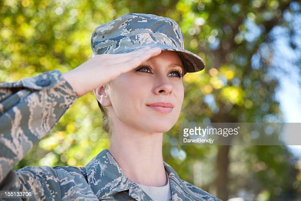 us air force series: american airwoman outdoor - saluting stock pictures, royalty-free photos & images