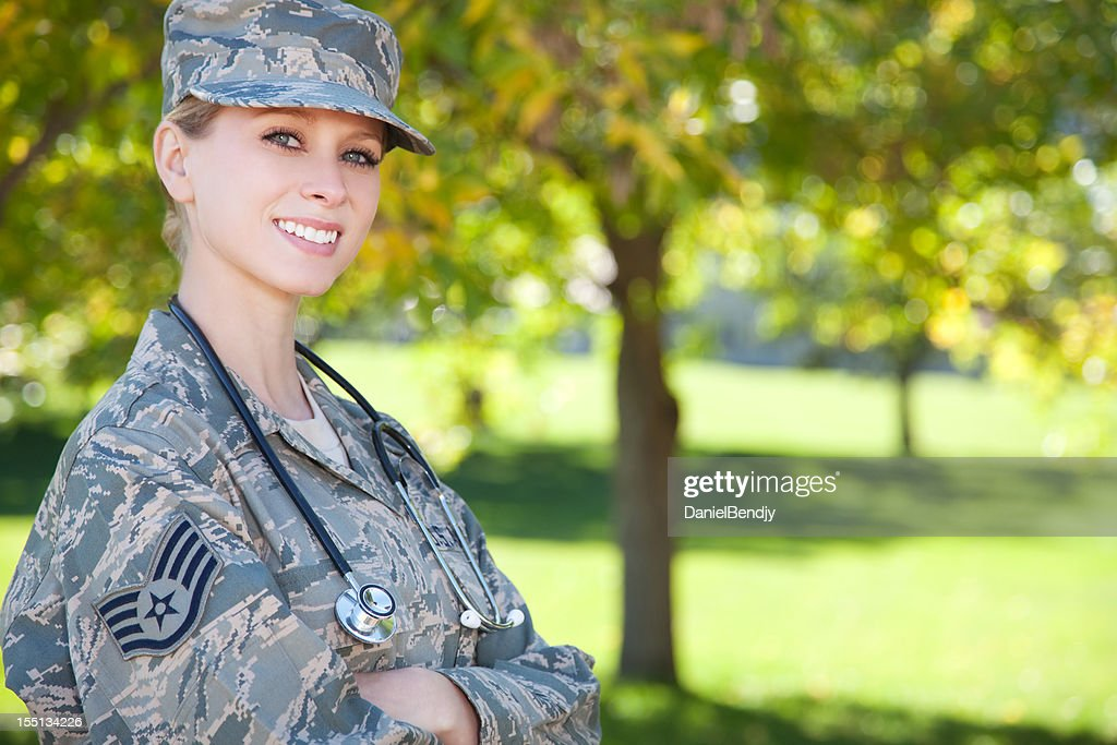 US Air Force Series: American Airwoman Outdoor : Stock Photo