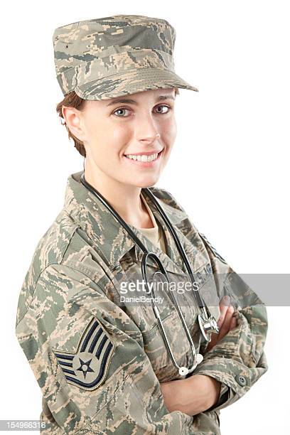 us air force series: american airwoman with stethoscope - military doctor stock photos and pictures