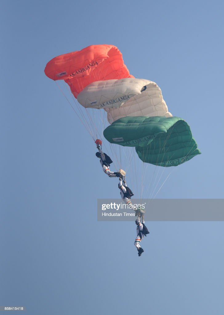 Air Force soldiers and officers practice for the Air Force Day during the full dress rehearsals at Hindon Air Base, on October 6, 2017 in Ghaziabad, India.