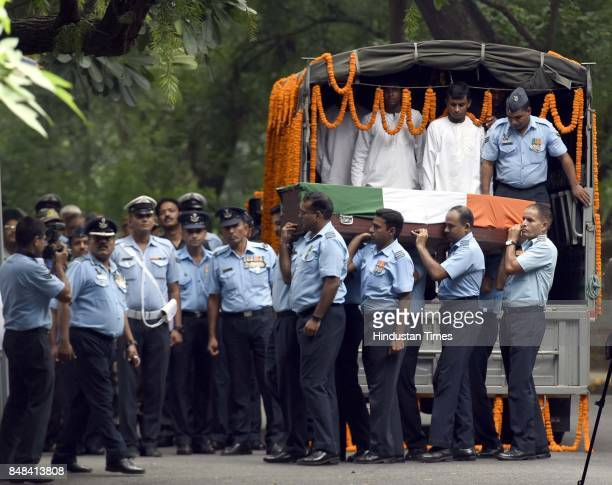 Air Force staff members carrying the deceased soul of Marshal of the Air Force Arjan Singh the only officer of the Air Force to be promoted to...
