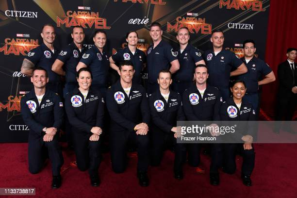 Air Force Thunderbirds attend Marvel Studios Captain Marvel Premiere on March 04 2019 in Hollywood California