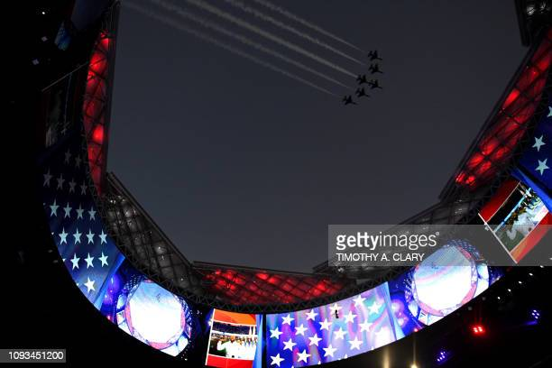 US Air Force thunderbirds fly over the MercedesBenz Stadium during Super Bowl LIII between the New England Patriots and the Los Angeles Rams in...