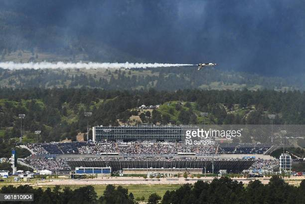 Air Force Thunderbirds flying team preform for the graduation ceremony at the Air Force Academy on May 23 2018 in Colorado Springs Colorado Nearly...