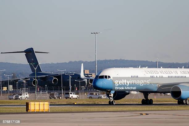 Air Force Two carrying US VicePresident Joe Biden arrives at Sydney Airport on July 18 2016 in Sydney Australia Biden is visiting Australia on a four...