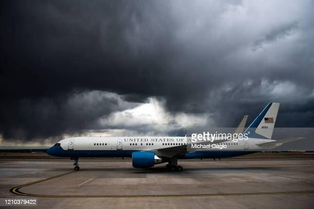 Air Force Two sits on the tarmac at Peterson Air Force Base after Vice President Mike Pence delivered an address at the Air Force Academy graduation...