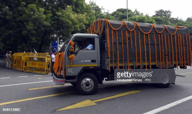 Air Force vehicle carrying the deceased soul of Marshal of the Air Force Arjan Singh the only officer of the Air Force to be promoted to fivestar...
