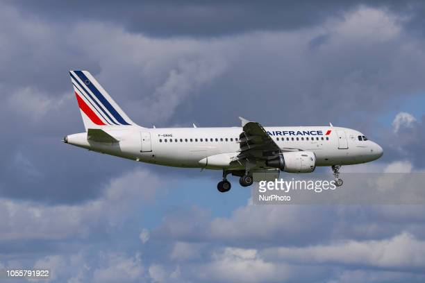 Air France Airbus A319100 with registration FGRHE landing at Amsterdam Schiphol International Airport in The Netherlands The aircraft is flying since...