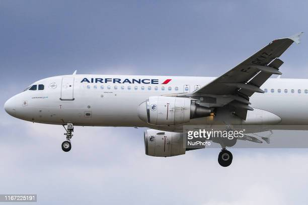 Air France Airbus A320 as seen from Myrtle avenue on final approach landing at London Heathrow International Airport LHR EGLL in England UK on 23...