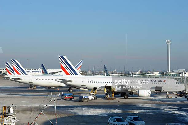 Air France aircrafts are parked at Paris international airport of RoissyCharles de Gaulle on February 7 2012 Flights were cancelled today on the...