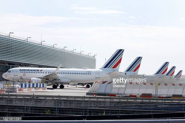 Air France aircrafts are parked on the tarmac at Paris Charles de Gaulle airport as the lockdown continues due to the coronavirus outbreak on April...